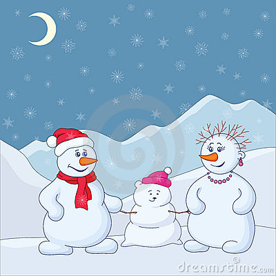 Snowmens in the winter mountains