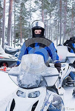 On snowmobile