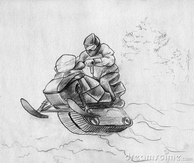 Snowmobile rider in a jump