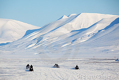 Snowmobile in Svalbard