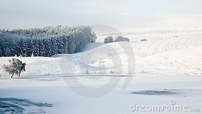Snowscape over Scottish Loch