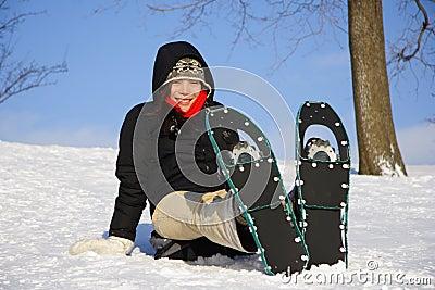 Snowshoe hiking woman