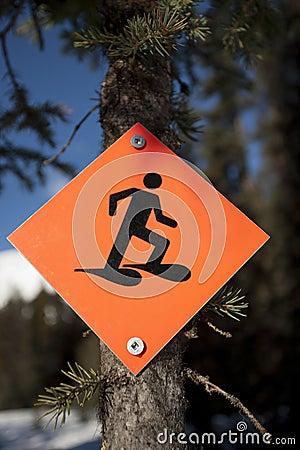 Snowshoe trail sign