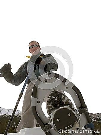 Snowshoeing的蒙大拿