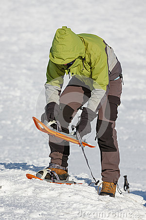 Snowshoeing in Carpathian mountains Stock Photo