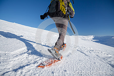 Snowshoeing in Carpathian mountains Stock Photo