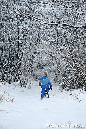 Snowshoeing en un camino