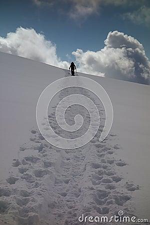 Snowshoeing uphill
