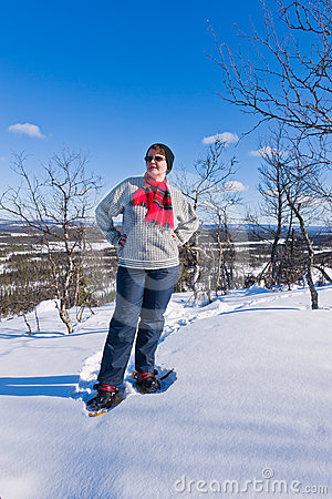Snowshoeing woman