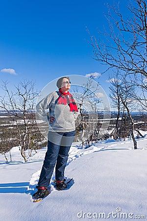Snowshoeing woman