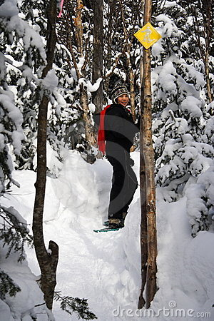 snowshoeing woman in Quebec