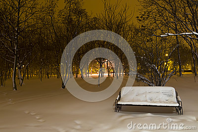 Snowy bench in the park