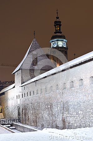 Snowy Bernardine Monastery in Lviv at the night