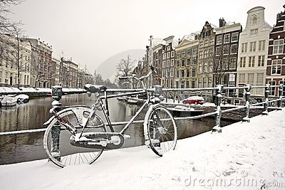 Snowy bike in Amsterdam the Netherlands