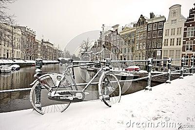Snowy bike in Amsterdam the Netherlands