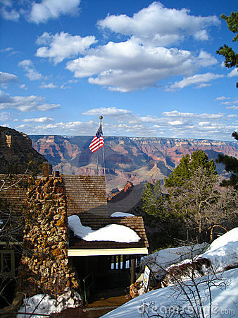 Snowy Cabin on the Grand Canyon