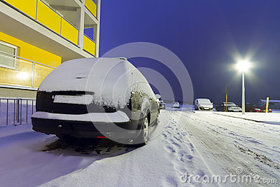 Snowy cars at winter in Poland
