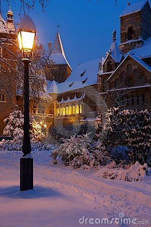 Snowy castle in magic hour