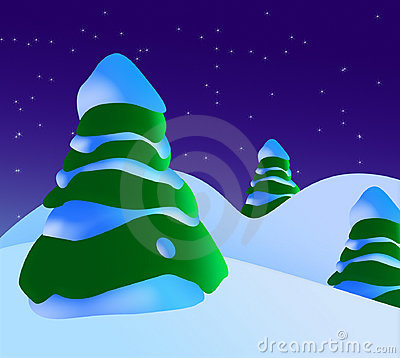 A Snowy Christmas Scene With Christmas Trees And Stars