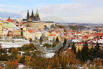 Snowy colorful autumn Prague gothic Castle, Czech