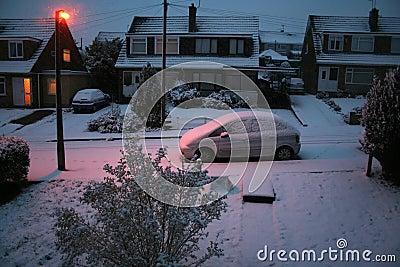 Snowy dawn in suburbia