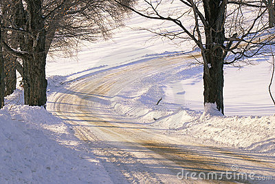 Snowy dirt road