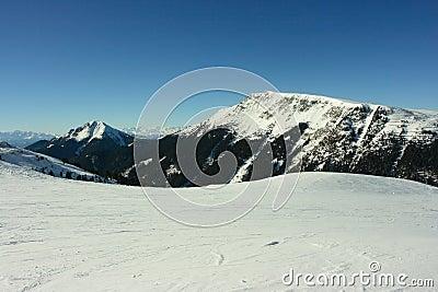 Snowy Dolomites mountains