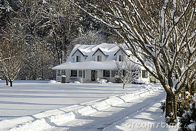 Snowy Farm House Stock Image Image 7877021