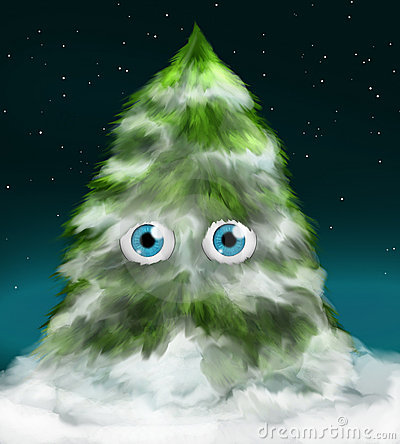 Snowy fir tree with eyes