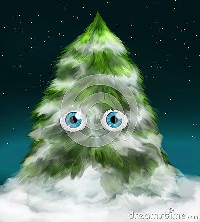 Snowy fir tree with eyes