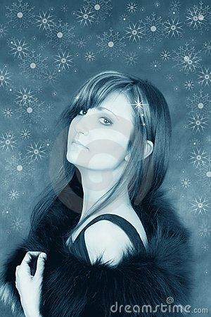 Snowy girl with snowflakes