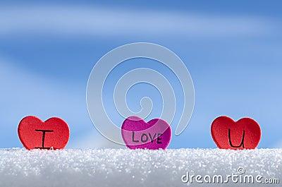 Snowy Hearts Blue sky