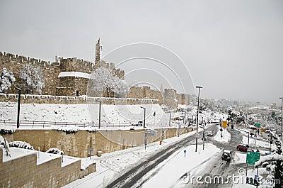 Snowy Jerusalem walls