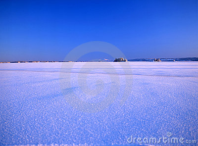 Snowy landscape and blue sky