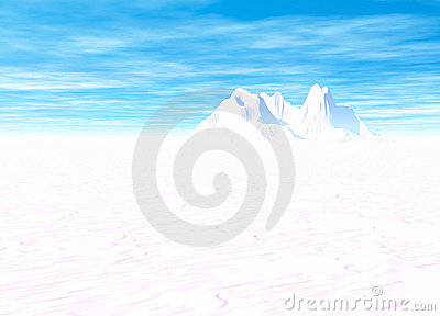 Snowy Landscape with Mountain in Far Distance