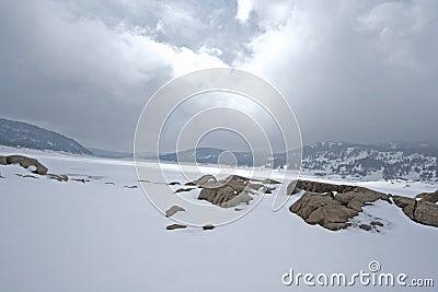 Snowy landscape in Pyrenees
