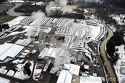 Snowy Lumber Yard