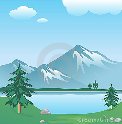 Snowy mountain with clouds, lake, trees and grass