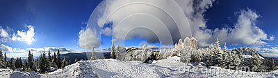 Snowy Mountain Panoramic.Lonely Rock