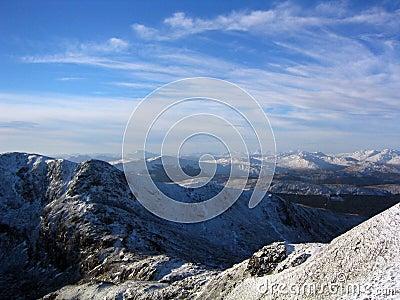 Snowy mountain peaks Scotland