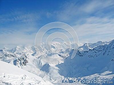 Snowy mountain range French Alpes
