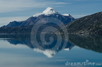 snowy mountain reflection in Greenland fjord