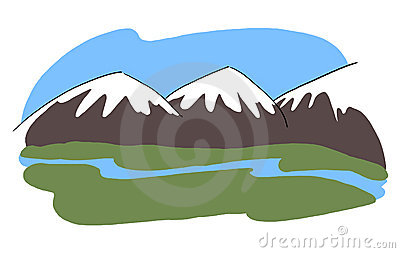 Snowy mountains landscape illustration