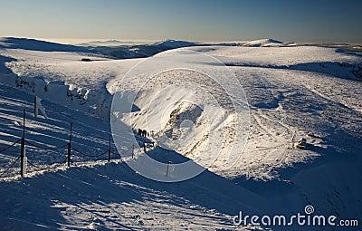 Snowy mountains landscape view