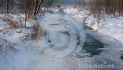 Partly frozen river in morning