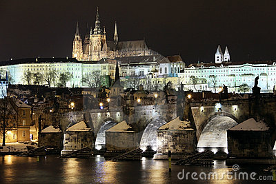Snowy Prague Castle with Charles Bridge in Night