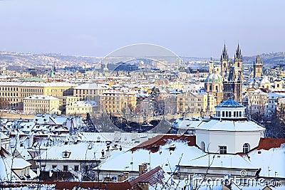 Snowy Prague City, Czech Republic