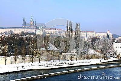 Snowy Prague s gothic Castle above River Vltava