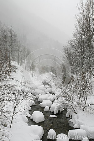 Snowy river in winter sadness isolation and cold a