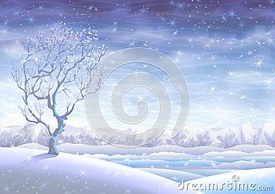 Snowy rolling winter landscape